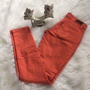 Denim - Coral distressed skinny jeans